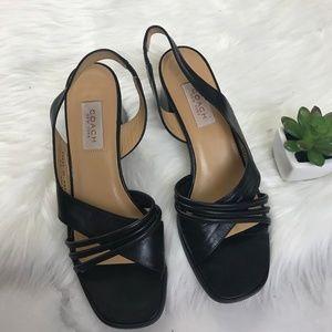 90's VTG Black Coach Sling Back Block Heel Shoe 9B